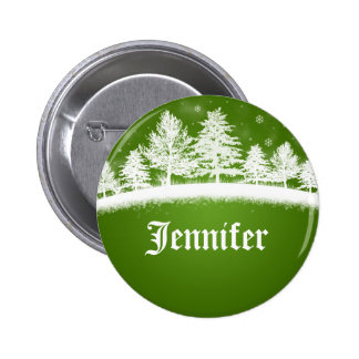 Xmas Party Name Tags Green 6 Cm Round Badge