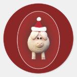 Xmas Piggy Round Sticker
