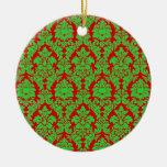 Xmas Red & Green Damask Christmas Ornaments