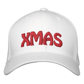 XMAS RED- White Hat Embroidered Baseball Cap