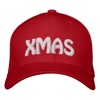 XMAS RED- White Stitch Embroidered Hat