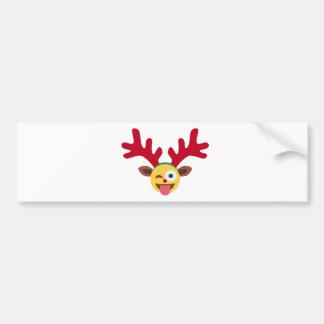 xmas reindeer wink emoji bumper sticker