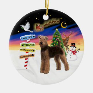 Xmas Signs - Airedale (standing) Christmas Ornament