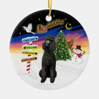 Xmas Signs - Black Standard Poodle Round Ceramic Decoration