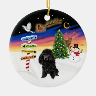 Xmas Signs - Black Toy Poodle Round Ceramic Decoration