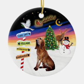 XMas Signs - Bloodhound Round Ceramic Decoration