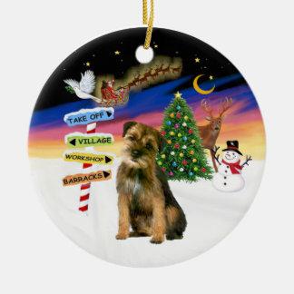 Xmas Signs - Border Terrier Round Ceramic Decoration