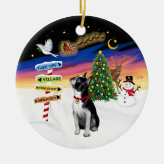 Xmas Signs - Boston Terrier #3 Round Ceramic Decoration
