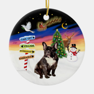 Xmas Signs - Brindle French Bulldog Christmas Ornament