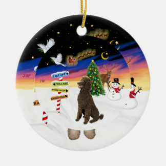 Xmas Signs - Chocolate Standard Poodle Christmas Ornament