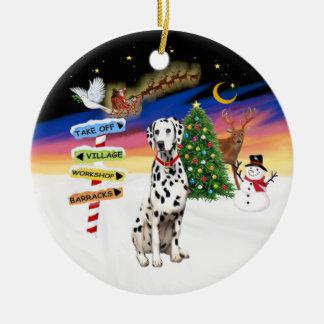 Xmas Signs - Dalmatian - red collar Round Ceramic Decoration