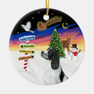 Xmas Signs - English Springer Spaniel #7 Round Ceramic Decoration