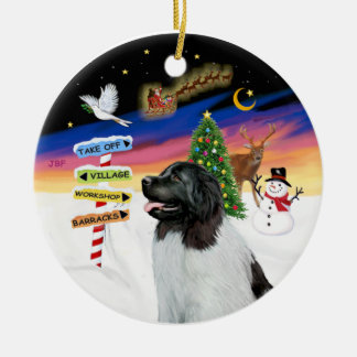 Xmas Signs - Newfie Landseer Christmas Ornament