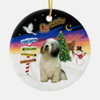 Xmas Signs - Polish Lowland Sheepdog Christmas Ornament
