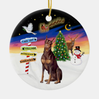 Xmas Signs - Red Doberman Christmas Ornament
