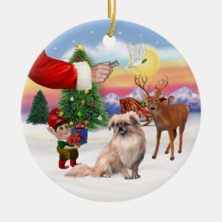 Xmas Signs - Tibetan Spaniel Christmas Ornament