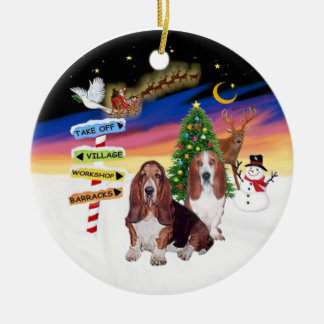 Xmas Signs - Two Bssset Hounds Round Ceramic Decoration