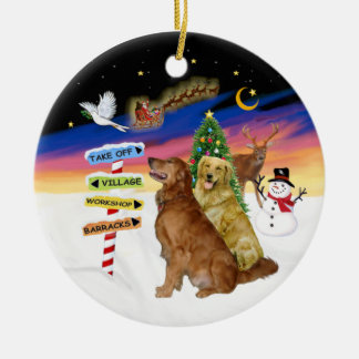 Xmas Signs - Two Golden Retrievers Christmas Ornament