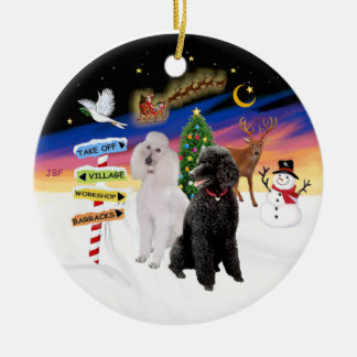 Xmas Signs - Two Standard Poodles (B+W) Round Ceramic Decoration