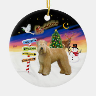 Xmas Signs - Wheaten (Stand) Round Ceramic Decoration