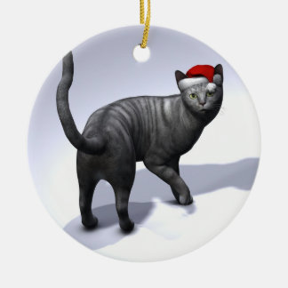 Xmas Silver Tabby Cat Double-Sided Ceramic Round Christmas Ornament