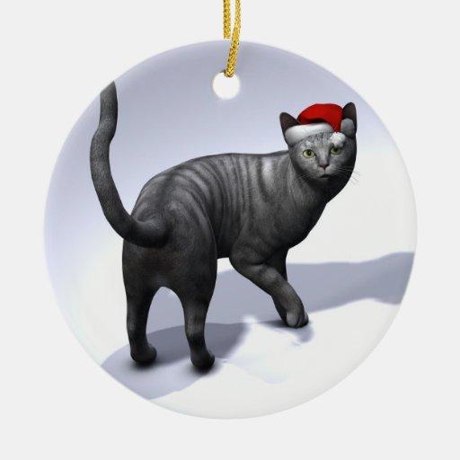 Xmas Silver Tabby Cat Christmas Ornaments