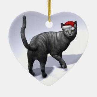 Xmas Silver Tabby Ornament