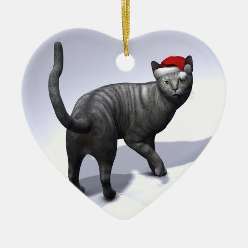 Xmas Silver Tabby Christmas Tree Ornaments