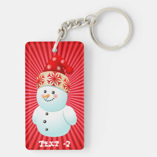 Xmas Snowman Double-Sided Rectangular Acrylic Key Ring