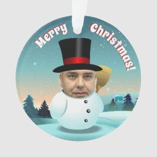 Xmas Snowmen Couple Customized With Your Photos Ornament