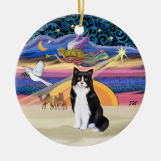 Xmas Star - Black and white Tuxedo cat Christmas Ornament