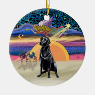 Xmas Star - Black Labrador #2 Round Ceramic Decoration