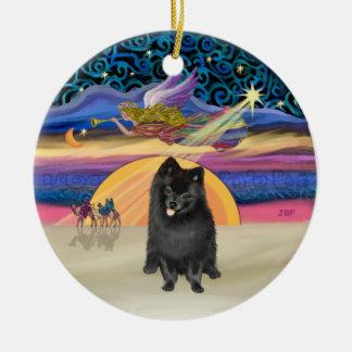 Xmas Star - Black Pomeranian Christmas Ornament