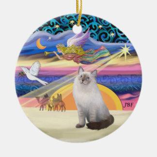 Xmas Star - Blue Cream Ragdoll cat Round Ceramic Decoration