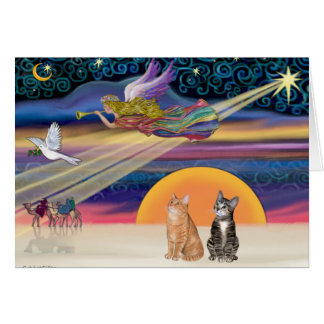 Xmas Star - Brown and Orange Tabby cats (two) Greeting Card