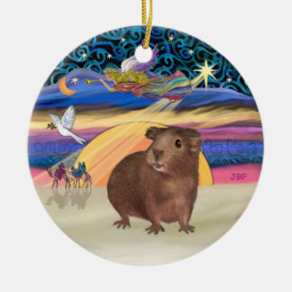Xmas Star - Brown Guinea Pig Christmas Ornament