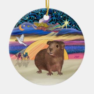Xmas Star - Brown Guinea Pig Round Ceramic Decoration