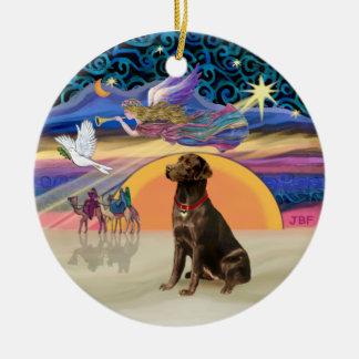 Xmas Star - Chocolate Labrador Round Ceramic Decoration
