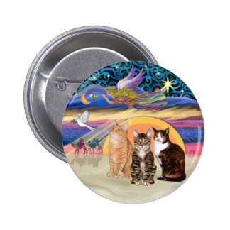 Xmas Star (R)  -Three cats (AmSH) 6 Cm Round Badge
