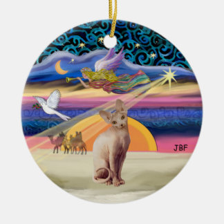 Xmas Star - Sphynx cat (fawn) Christmas Ornament