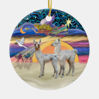 Xmas Star - Two Baby Llamas Christmas Ornament