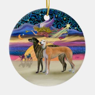 Xmas Star - Two Greyhounds Round Ceramic Decoration