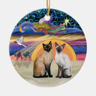 Xmas Star - Two Siamese cats Christmas Ornament