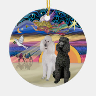 Xmas Star - Two Standard Poodles (W+Blk) Christmas Ornament