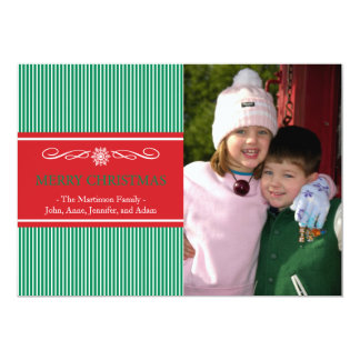 Xmas Stripes Christmas Card (Green / Red) Invites