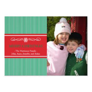 Xmas Stripes Christmas Card (Green / Red) Invites