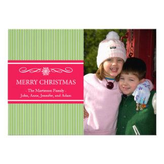 Xmas Stripes Christmas Card (Green / Red)