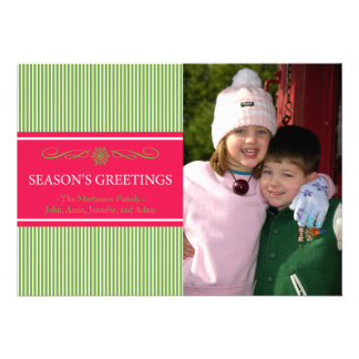 Xmas Stripes Christmas Card (Pale Green / Red)