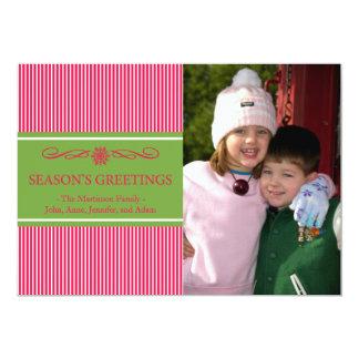 Xmas Stripes Christmas Card (Pale Red / Green) Custom Invite