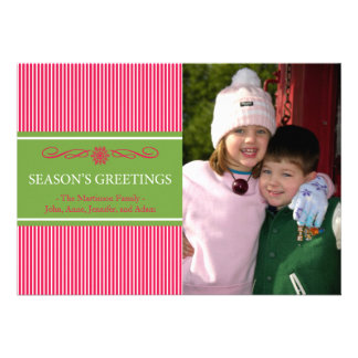 Xmas Stripes Christmas Card (Pale Red / Green)